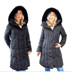 Marc NY Andrew Marc Fox Fur Black Parka Down Coat